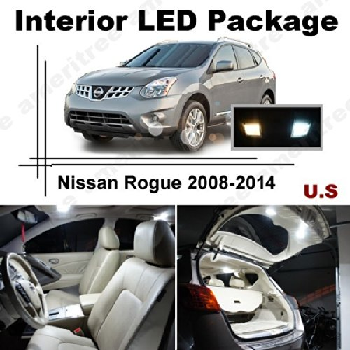 Ameritree Xenon White Led Lights Interior Package + White Led License Plate Kit For Nissan Rogue 2008-2014 (6 Pcs)