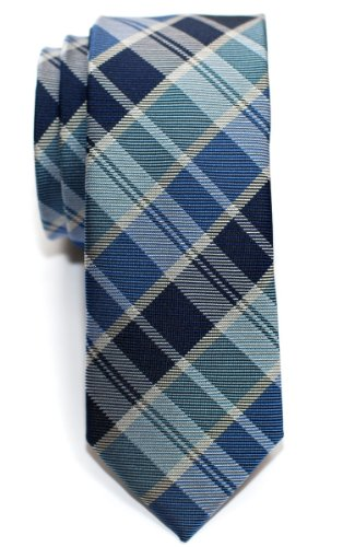 Retreez Modern Tartan Plaid Check Styles Woven Microfiber Skinny Tie - Blue (Mens Retreez Skinny Ties compare prices)