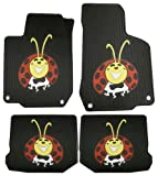 1998-2010 Volkswagen Beetle Lady BUG Colorful Logo Custom Fit - 4 Pc Front & Rear Rubber Floor Mats Set