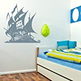 Pirates Ship Wall Sticker / Vinyl Art Transfer / Large Graphic Decor RA207