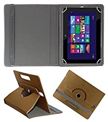 Acm Designer Rotating 360° Leather Flip Case For Hp Omni 10 Tablet Stand Premium Cover Golden