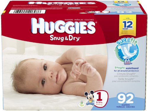 Huggies Snug and Dry Diapers - Size 1 - 92 ct - 1