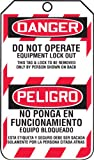 "Accuform Signs TSP105CTP Spanish Bilingual Lockout Tag, Legend ""DANGER DO NOT OPERATE EQUIPMENT LOCK OUT/ PELIGRO NO PONGA EN FUNCIONAMIENTO EQUIPO BLOQUEADO"", 5.75"" Length x 3.25"" Width x 0.010"" Thickness, PF-Cardstock, Red/ Black on White (Pack of 25)"