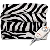 Sunbeam Fleece Heated Throw, Grey/Black Zebra