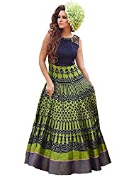 VH Fashion Women's New Navy Blue & Green Colour Floor Touch Semi Stitched Designer Printed Gown