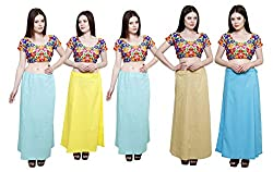 Pistaa combo of Women's Cotton Sky Blue, Lemon Yellow, Sky Blue, Beige and Light Rama Color Best Indian Daily wear Inskirt Saree petticoats