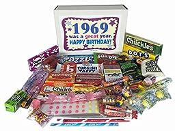 1969 Retro Nostalgic Candy 47th Birthday Gift Basket Box Jr. Born \'60s