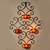 FunRobbers Wall Scone With 4 Tea Lights Holders With Metal Finish For Diwali Home Decor Gift