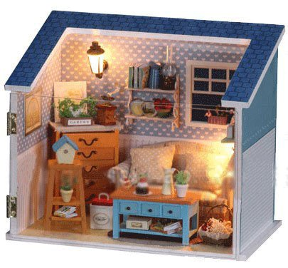 Big Dollhouse Miniature Diy Wood Frame Kit With Light Model Sweet Promise Gift Ldollhouse48-D55