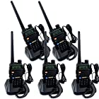 Retevis RT-5R 5W 128CH UHF/VHF 136-174/400-520 MHz Dual Band Dual Standby DTMF/CTCSS/DCS FM Transceiver with Earpiece Ham Amateur Radio Walkie Talkie 2 Way Radio Long Range Black 5 Pack