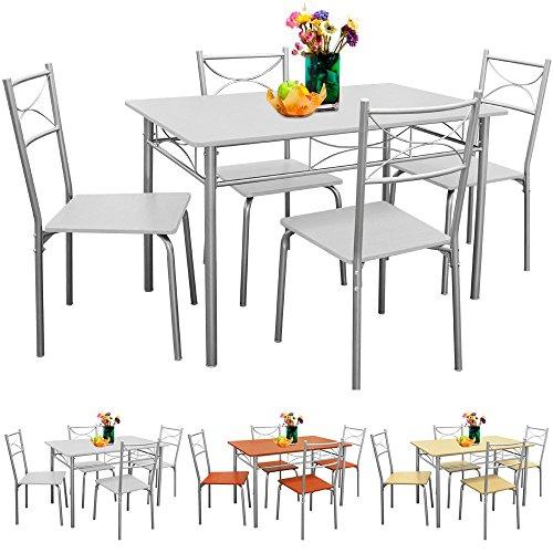 Sitzgruppe-Esszimmer-Kche-5tlg-Wei-Sthle-Tisch-Esstisch-Essgruppe