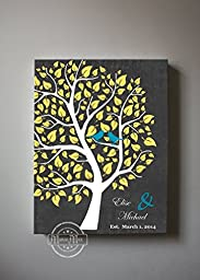 MuralMax - Custom Couple Family Tree - Stretched Canvas Wall Art - Make Your Wedding & Anniversary Gifts Memorable - Unique Wall Decor - Color - Charcoal - 30-DAY Money Back Guarantee - Size 8 x 10