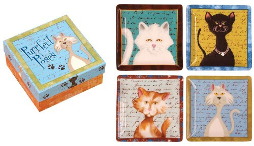 Manual Purrfect Poses Ceramic Decorative Mini-Plates, Set Of 4 front-1013021