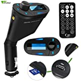 Amzdeal Car Kit MP3 Player Wireless FM Transmitter Modulator with USB/SD/Card Reader MMC Slot and Remote Control