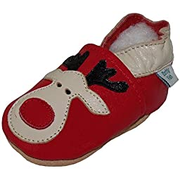 Dotty Fish Unisex Baby\'s Soft Leather Shoe with Suede Soles 18-24 months Red Rudolph the Reindeer