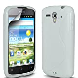 Gadget Giant Huawei Ascend G300 White S Line Gel Grip Silicone Case Cover & LCD Screen ProtectorÂ