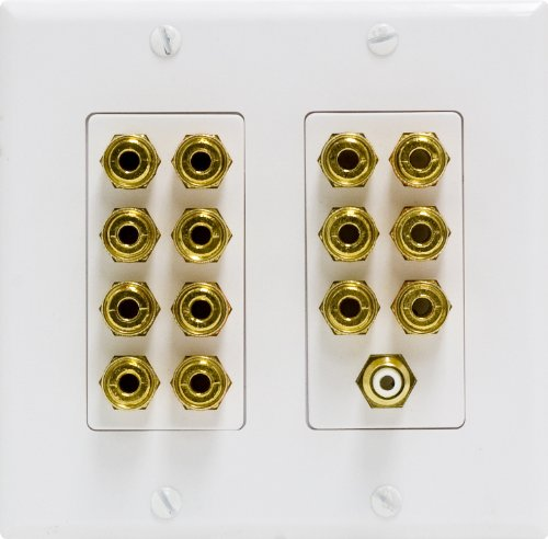 Ge 87693 Speaker Wall Plate With 14 Binding Post And 1 Rca Audio Jack