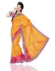 Unnati Silks Women Kota Silk Printed Mustard Saree