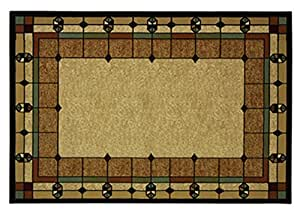 Art Deco Area Rug Stained Glass Design