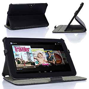Supcase Ultra Slim Fit Multi-angles Leather Cover Case for Google Nexus 10 inch Tablet (Black) - Multiple Color Options