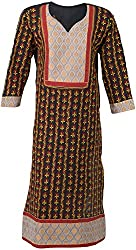 ALMAS Lucknow Chikan Women's Cotton Regular Fit Kurti (Black)
