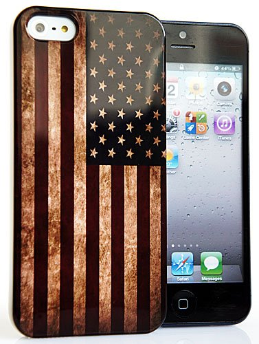 CASEiLIKE ® - USA, Snap-on American Flag retrò Vintage IMD lucido duro indietro cover per Apple iPhone 5-- con SCREEN PROTECTOR