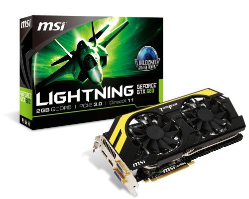 MSI NVIDIA GeForce GTX 680 2GB GDDR5 2DVI/HDMI/DispayPort PCI-Express Video Card (N680GTX LIGHTNING)