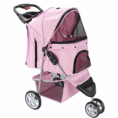 Oxgord 3 Wheeler Elite Jogger Pet Stroller Cat/Dog Easy Walk Folding Travel Carrier, Rose Wine