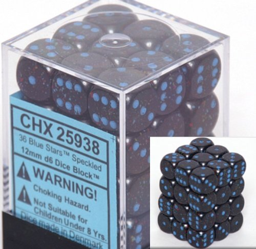Chessex Dice d6 Sets: Blue Stars Speckled - 12mm Six Sided Die (36) Block of Dice