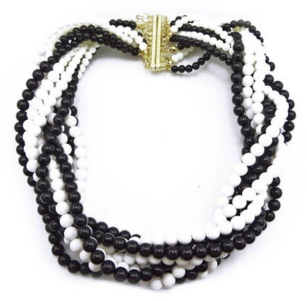 black Bohemian Multi Strands Braided Beads Chunky Bib Collar Necklace(wp-47)