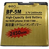 2450mAh Gold Battery Replacement BP-5M for Nokia 5610XM 5611XM 5700XM 5710XM 6110C 6500 6500S BP 5M