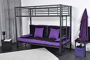 lit mezzanine 90x190 et banquette lit 140x190 anthracite bros cuisine maison. Black Bedroom Furniture Sets. Home Design Ideas