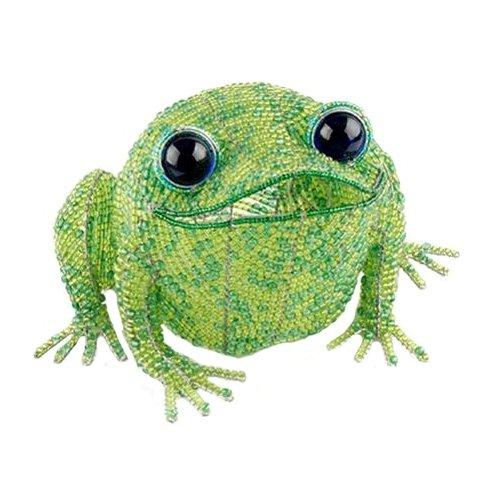 Grass Roots Creations Fat Frog with Light Beadworx Sculpture, Green