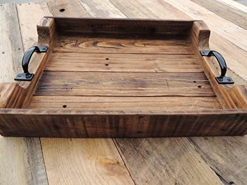 Amazoncom Rustic Wood Coffee Table Serving Tray Large