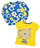 Girls Pretty Blue & Yellow Cat & Flowers T-Shirt Twin Pack: Sizes 3/6m - 3/4years