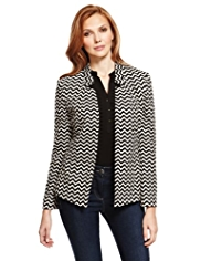 M&S Collection Notched Collar Zig Zag Print Jacket