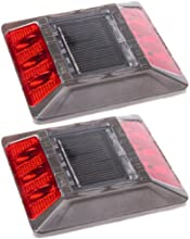 2 Pack Red Commercial Solar Road Stud Deck Dock Light with Recessed Anchor