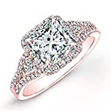 1.06 Carat GIA Certified Princess & Round Brilliant Cut Diamond Halo Anniversary Engagement Ring in 18k Rose Gold