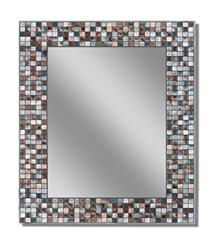 Headwest Earthtone Copper-Bronze Mosaic Tile Wall Mirror, 24