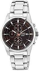 Seiko Dress Chronograph Brown Dial Mens Watch - SNAF05P1