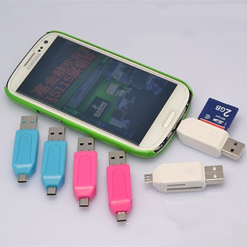 Smart Phone Tablet PC Dual Purpose USB OTG SD / TF Card Reader for Samsung / HTC / XiaoMmi - White / Blue / Rosy