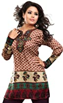 India Kurti Tunic Top Womens Printed Blouse Indian Clothing (Brown, XXS)