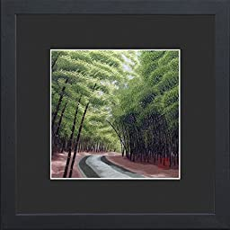 King Silk Art 100% Handmade Embroidery Japanese Bamboo Forest Chinese Print Framed Wildlife Landscape Painting Gift Oriental Asian Wall Art D¨¦cor Artwork Tapestry Hanging Picture Gallery 37014BFB1