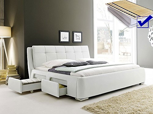 Polsterbett weiss Bett 180×200 + Lattenrost + Matratze + Schubkasten Doppelbett Designerbett Alvaro jetzt kaufen