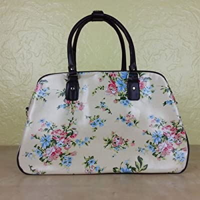 Oilcloth Polka Dot/Flower/Owl Print Holdall Weekend Travel Bag (FLOWER CREAM)