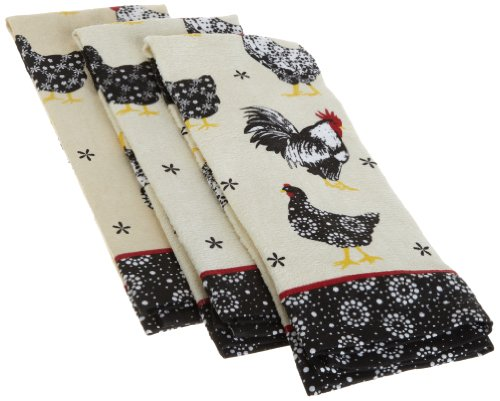 DII 100% Cotton, Machine Washable Everyday Kitchen Basic Printed Terry Dishtowels, Set of 3, Vintage Rooster