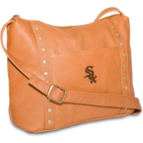 MLB Chicago White Sox Tan Leather Women's Top Zip Handbag
