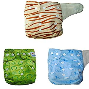 Alva Baby 3pcs One Size Bamboo Viscose Cloth Diapers + 6pcs Bamboo Viscose Inserts 3BM99