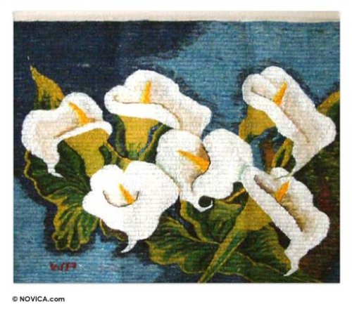 Wool tapestry, 'Arum Lilies Bouquet'