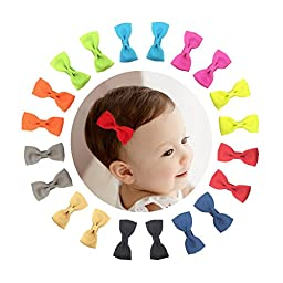Shemay 10 Pairs 2 Inch Grosgrain Ribbon Tiny Boutique Hair Bows Alligator Clips For Baby Girls Toddlers Kids Barrettes